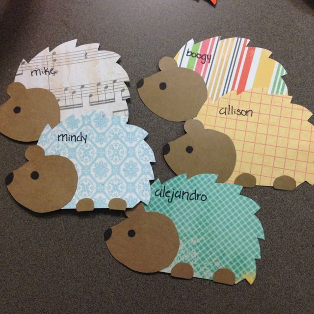 Hedgehog door decs (residents could pick the body pattern/color that fits their personality)