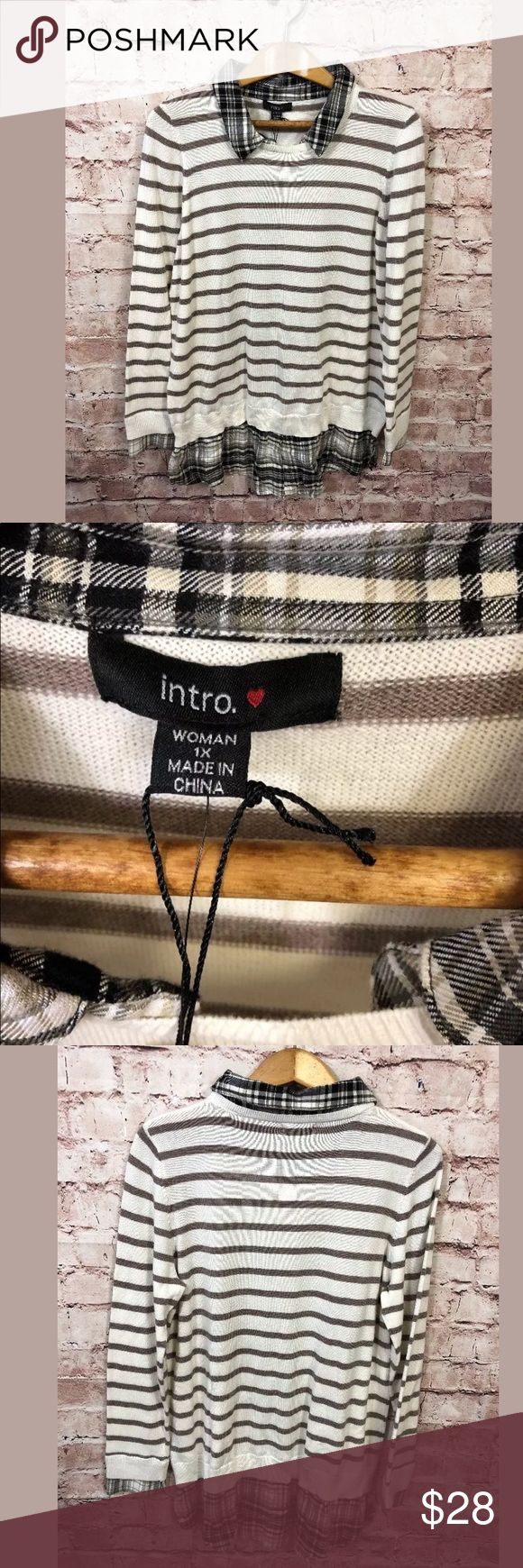 "Intro 1X Layered Sweater Plaid Stripe Twofer Tan New. Smoke free.  One piece.  Chest 44"" - will stretch  Length 32""  W20 Intro Woman Plus Size 1X Layered Sweater Plaid Stripe Twofer Tan intro Sweaters Crew & Scoop Necks"