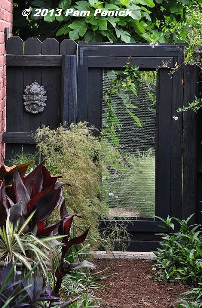 A screen inset in a traditional gate opens a window in the garden. Springtime visit to the Garden of Good and Evil   Digging