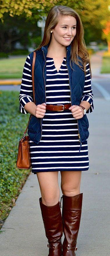 striped dress + jcrew vest + tory burch boots