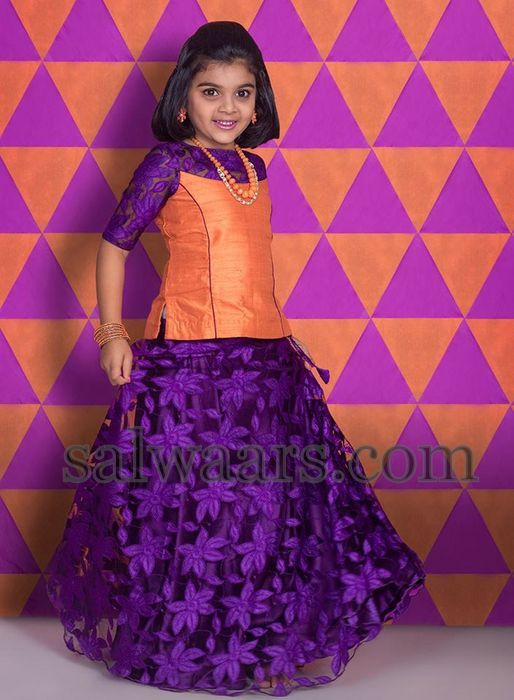 Baby in Purple Self Work Lehenga - Indian Dresses