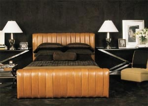 Ralph Lauren Suede Paints: I love this dark gray suede paint with the camel leather bed...I'm not a modern girl but this is pretty scrumptious! Can't find the exact paint color that was used but still searching.