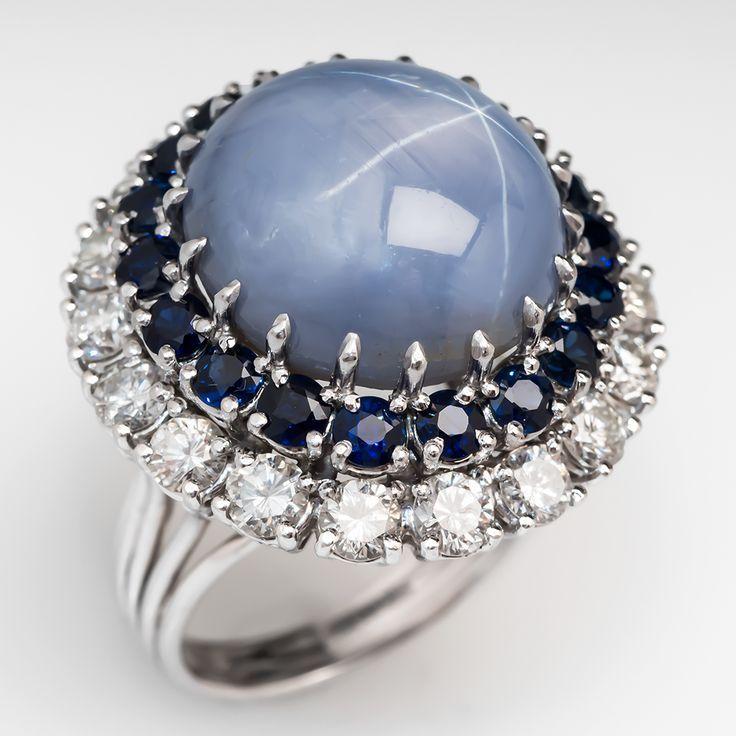 29 Carat Unheated Vintage Star Sapphire Cocktail Ring Platinum