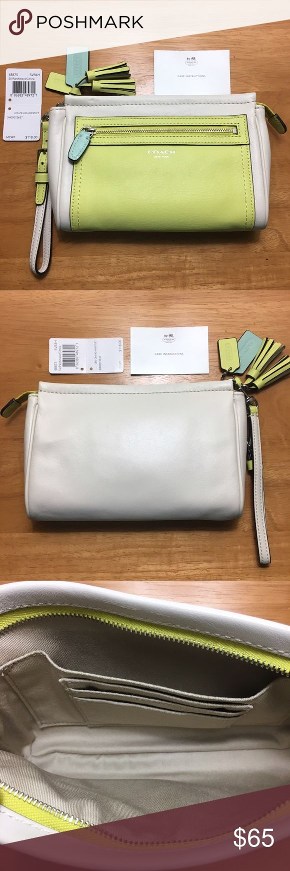 "💚 Coach Legacy Colorblock Large Wristlet 💚 Authentic Coach Legacy Colorblock Leather Large Wristlet in Parchment/Citrine with silver-tone hardware. Style #48875, SVB4H. Dimensions: 8"" L x 5"" H x 1.75"" W. Features colorblock leather; contrasting zipper pull/hangtag; exterior zip pocket; 3 interior credit card pockets & one large slip pocket; zip-top closure; detachable wrist strap; embossed Coach logo on front; mini tassels; and 2 hangtags. EXCELLENT preloved condition! Includes care card…"
