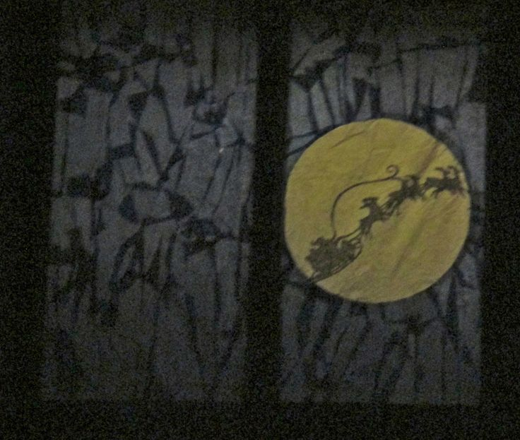 Uppermill Advent window: Santa silhouette