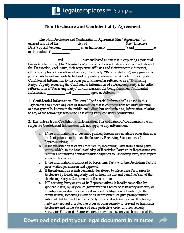 Non-Disclosure Agreement (Confidentiality Agreement) Sample - For more information on NDAs and Confidentiality Agreements, visit https://legaltemplates.net/form/non-disclosure-agreement/