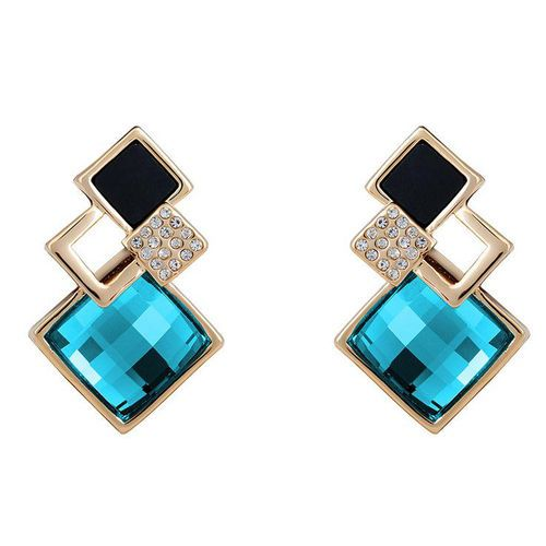 New Women Genuine White Gold Plated Crystal Four Squares Studs Earrings Jewelry