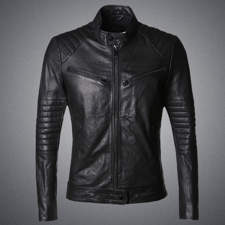 >> Click to Buy << 2016 new winter men sheepskin leather slim short metrosexual man black men's Leather Motorcycle Jacket L311 #Affiliate