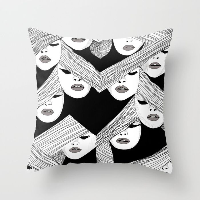 Audrey Hepburn pattern based in her Vogue cover.  #audrey #hepburn #pattern #illustration #black #white #society6 #pillow #cushion @society6