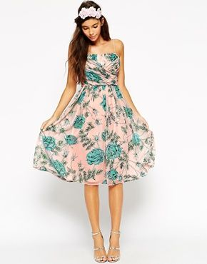 ASOS WEDDING Midi Dress With Ruched Wrap Front In Rose And Bud Print