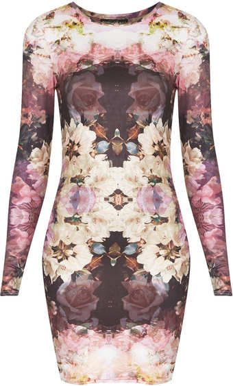 Topshop Tall Mirror Bloom Bodycon Dress - Lyst