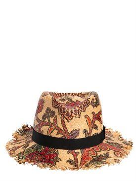 etro - mujer - sombreros - sombrero de paja tejido estampado