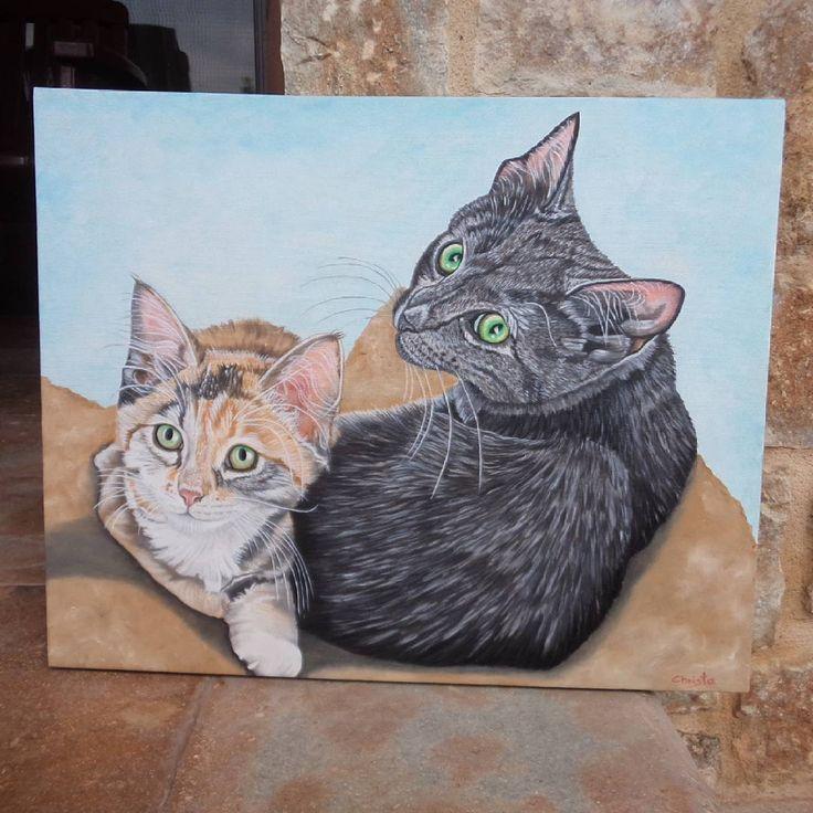"272 Likes, 24 Comments - Christa (@oilpaintingschrista) on Instagram: ""Custom order-2 lovely cats☺☺☺ https://www.etsy.com/listing/232124000/custom-portrait-2-pets-…"""