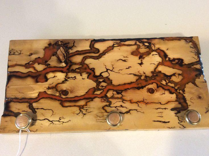 """Maple Lichtenberg Fractal Halloween Orange Art Decor - High Voltage Art 16"""" X 6"""" #115 by TheDragonOak on Etsy"""