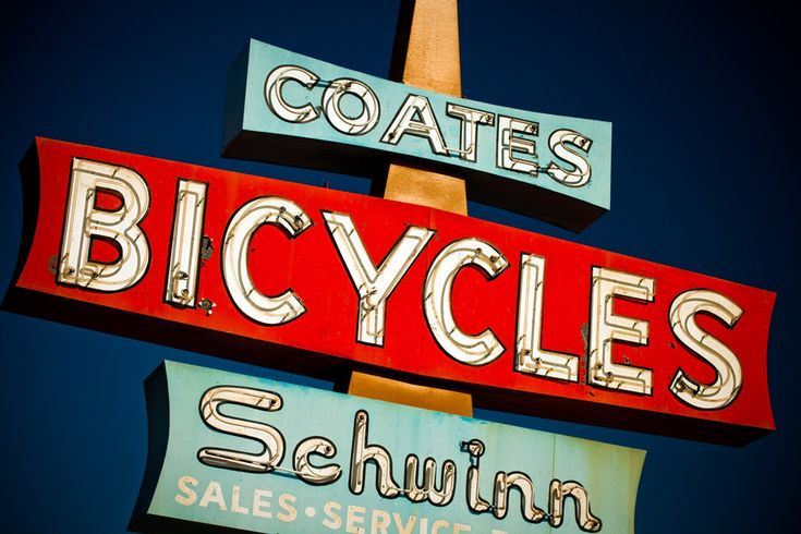 Vintage Route 66 Coates Schwinn Bicycle Sign -  Vintage Neon Sign Art - Bike Shop Sign - Claremont California
