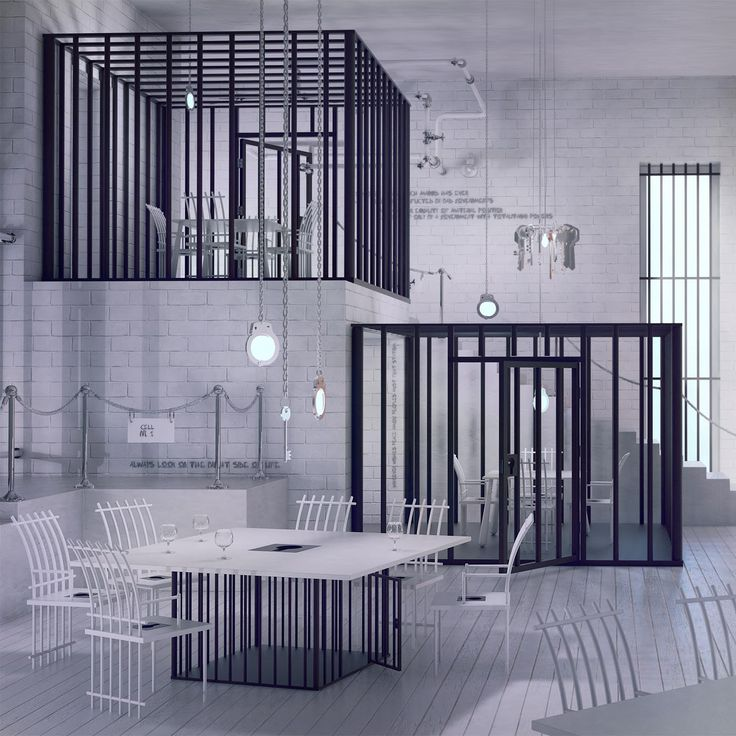 'Poczekalnia' restaurant by Karina Wiciak of Wamhouse. 'Poczekalnia' (which in Polish means 'Waiting Room') is a restaurant inspired by the prison environment and iconography.