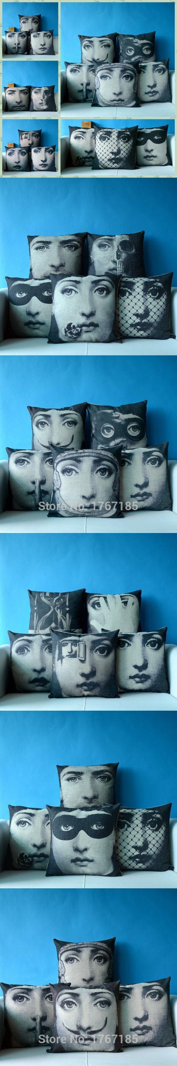 2015 Modern Cushion Covers Printed Art Fornasetti Bed Car Hotel Printed Luxury Home Decor Sofa Vintage Pillowcase Cushion Cover $8.99