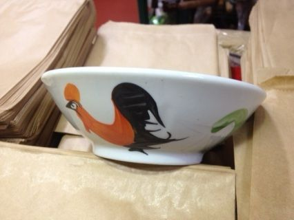 7.5 inch flared hand painted Rooster design bowl.