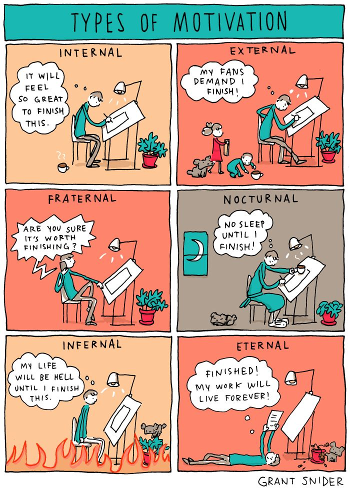 """Types of Motivation"" by Grant Snider on Incidental Comics"