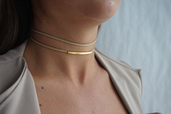 Double Suede ChokerYellow Gold Choker Necklace Dainty by tooposhh