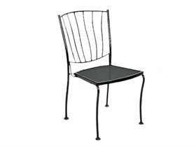 Woodard Aurora Wrought Iron Dining Arm Chair Stackable 5L0001: LuxePatio.com, 21W x 23.9D x 33.8H inches - $133.90