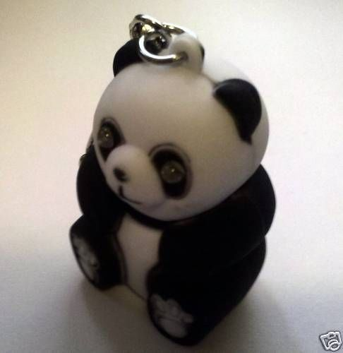 12 x PANDA Bear LED Emergency Flash LIGHT LOT GROWLS CHARM KEY CHAIN RING USA