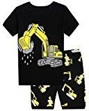 #10: Boys Pajamas 100% Cotton Excavat Toddler Kids Pjs 2 Piece Children Short Clothes