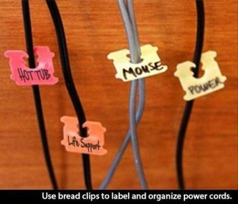 Bread clips for organized cords - Top 68 Lifehacks and Clever Ideas that Will Make Your Life Easier