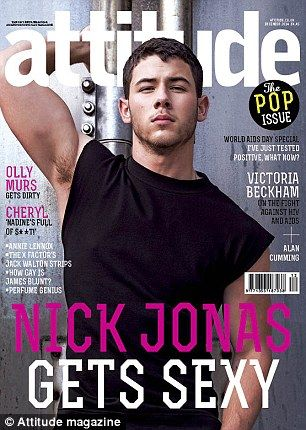 Bulked up: Nick Jonas shows off his toned torso on the cover of Attitude Magazine which hits newsstands on November 12 in the UK