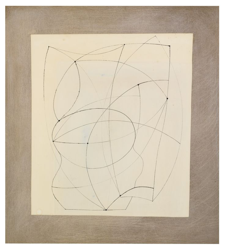 Ben Nicholson | Pen and ink and wash on paper, laid on the Artist's board sheet | 37.5 by 32cm | 1966