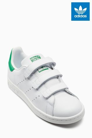 White/Green adidas Stan Smith Velcro