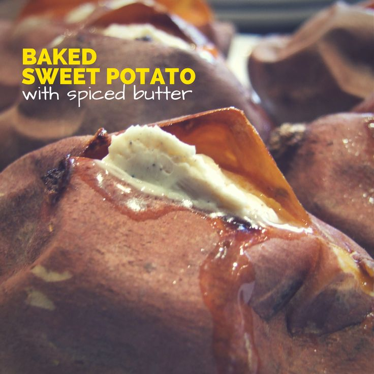 Baked sweet potato with spiced butter - easy 3-ingredient side dish that tastes amazing! http://family-friends-food.com