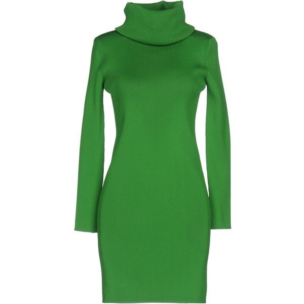 Céline Short Dress ($850) ❤ liked on Polyvore featuring dresses, green, turtleneck dress, pocket dress, long sleeve dress, long sleeve turtleneck top and green mini dress