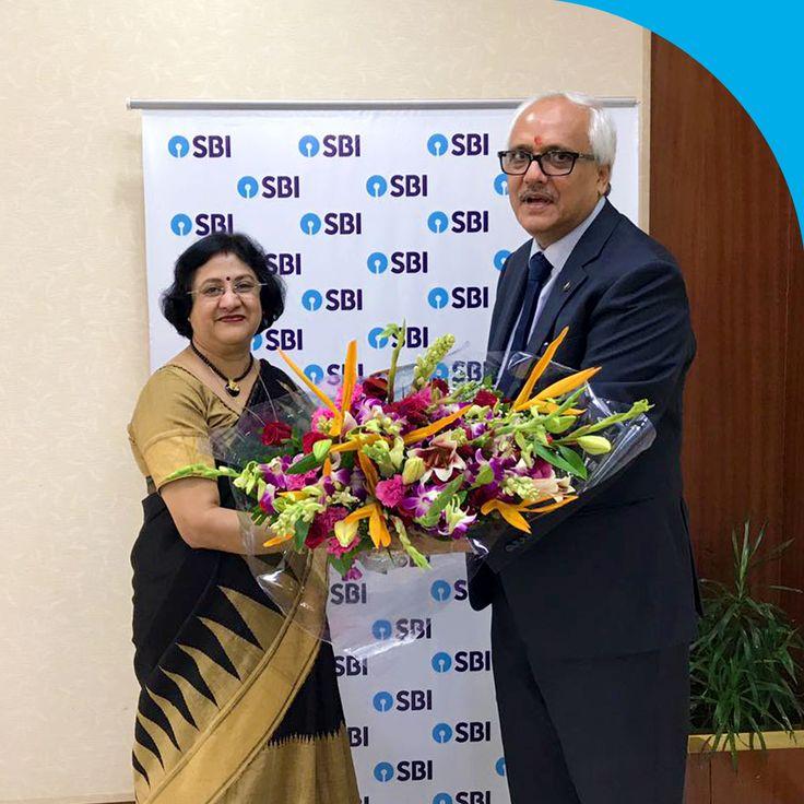 Stalwarts of the Financial sector, Smt. Arundhati Bhattacharya, Chairman, SBI & Shri. V. K. Sharma, Chairman, LIC, on SBI's 62nd Foundation Day.