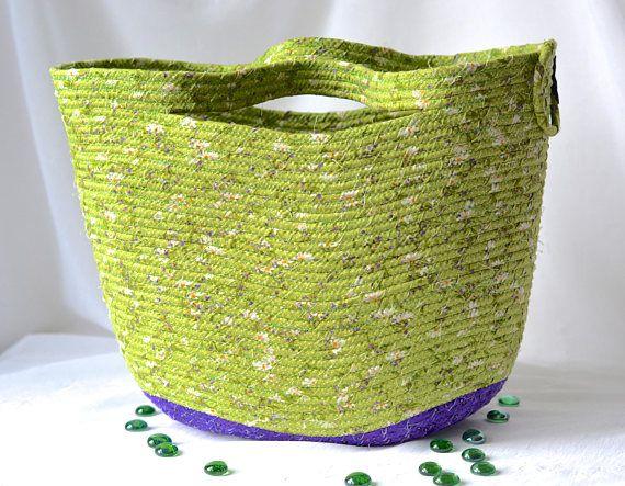 Decorative Gift Basket Green Tote Bag Handmade Storage