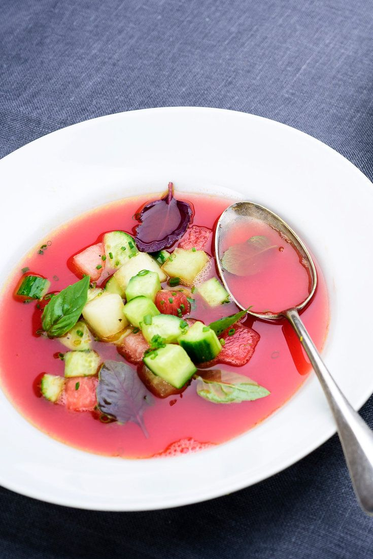 This simple, refreshing gazpacho-like chilled soup depends on the sweetness of the watermelon, tempered by the addition of olive oil, vinegar, lime juice and salt, to create the perfect balance of flavors A little spiciness in the form of cayenne or crushed red pepper is welcome, too, as is an extra squeeze of lime juice at the table.