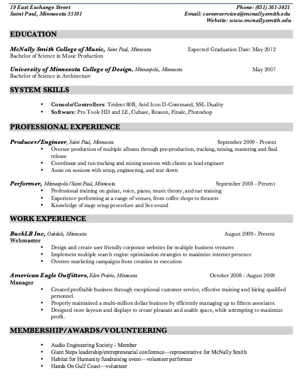 Music Production Resume Sample - http\/\/resumesdesign\/music - music resume sample