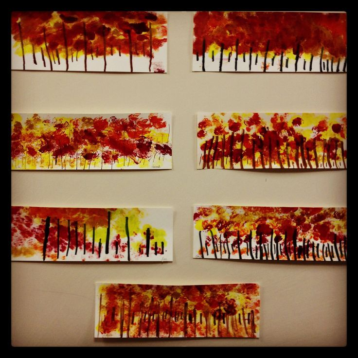 Kindergarten art project- fall tree line. www.bloomshoppe.com: