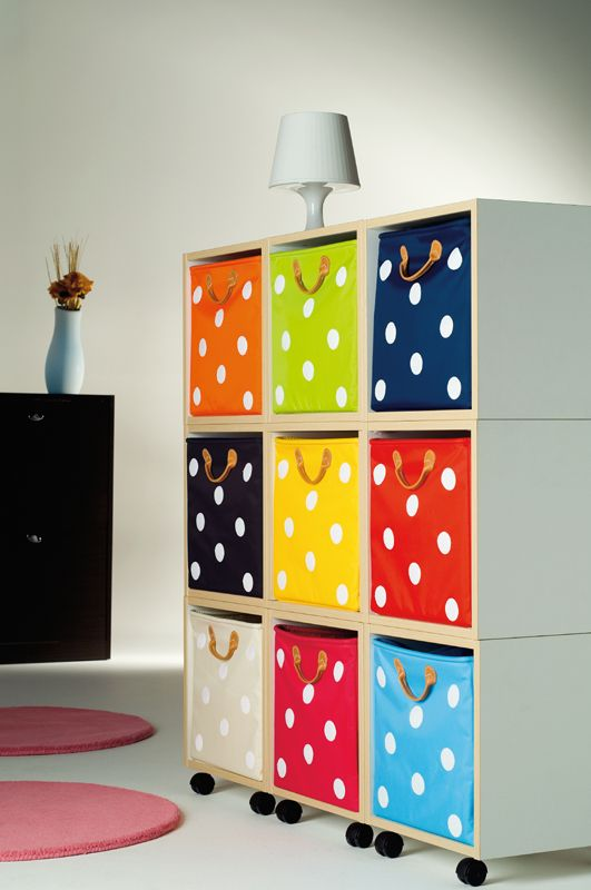Polka Dot Storage! so cute!  Could easily do this with plain colored bins and some acrylic paint
