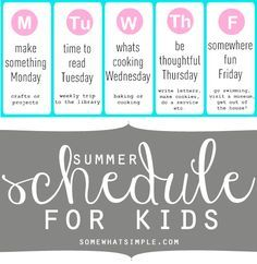 love this summer schedule for kids!