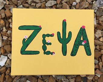 Zeta Tau Alpha Cactus Canvas Painting | Sorority Cactus Canvas | Canvas sign, dorm decor, college gift, wall decor,