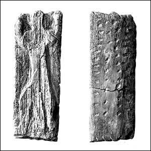 Stone age star chart ofOrion.  The oldest image of a star pattern, that of the famous constellation of Orion, has been recognised on an ivory tablet some 32,500 years old.  The tiny sliver of mammoth tusk contains a carving of a man-like figure with arms and legs outstretched in the same pose as the stars of Orion.