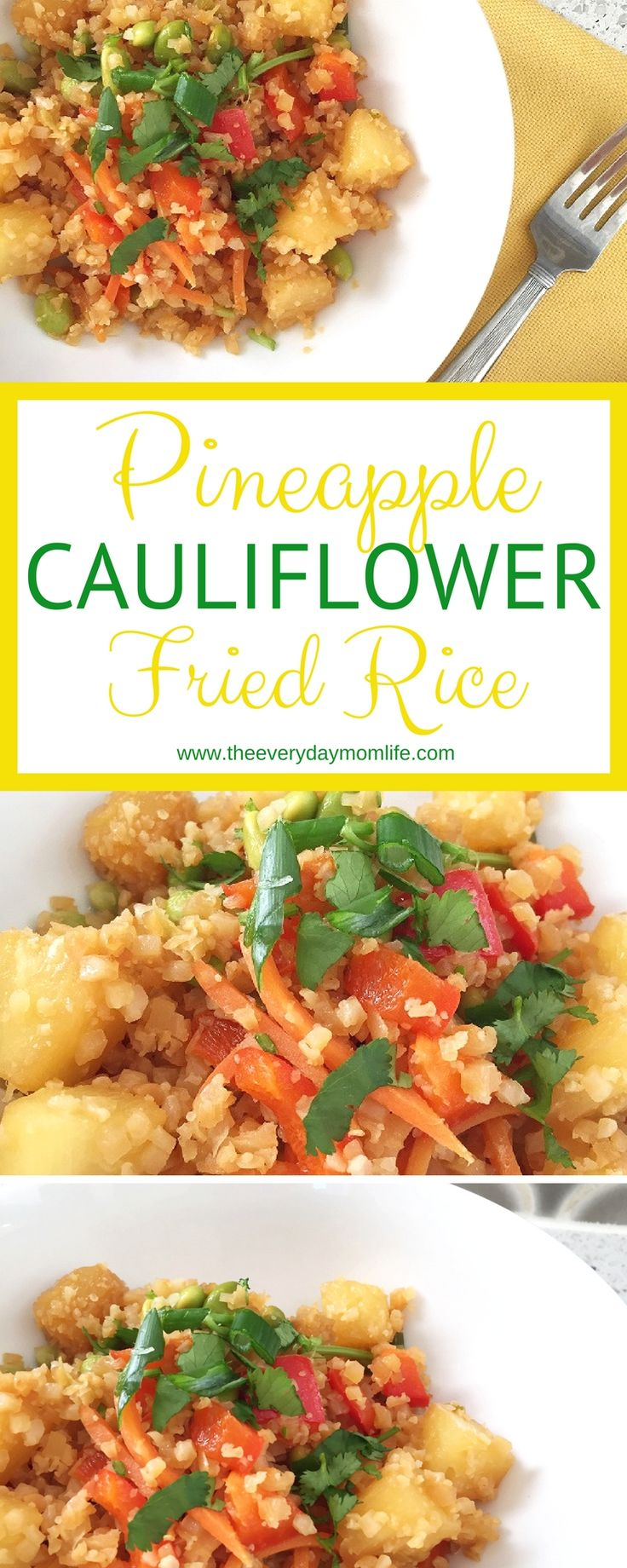Simple, Delicious Pineapple Cauliflower Rice recipe is perfect when you are trying to go low-carb and reduce calories. Your family will love this recipe! Even the kids!