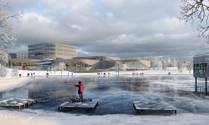 Designed by 3XN. 3XN Architects has been announced as the winners of a competition to design a new aquatic center along Tinnerbäck Lake in Linköping, Sweden, beating...