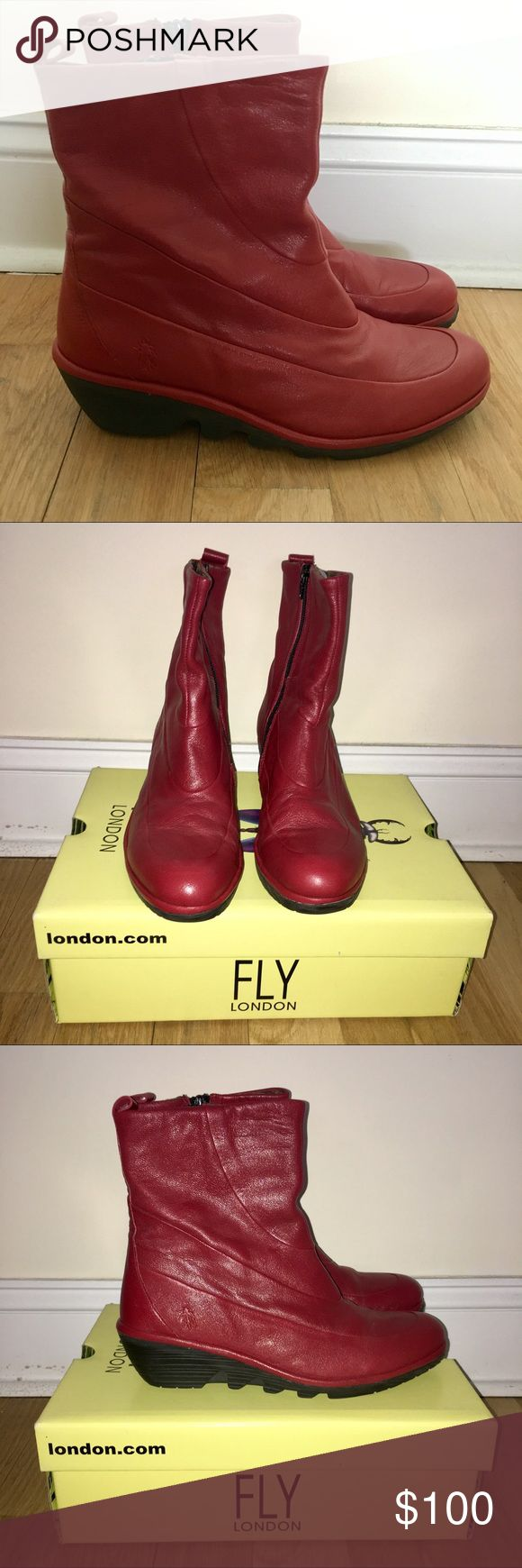 """Fly London Boots Fly London """"Pilz"""" boots. Mid-calf height. Round toe. Slim wedge heel. Full grain genuine leather upper. Lined with soft canvas. Man-made sole with textures thread. Excellent condition. Fly London Shoes"""