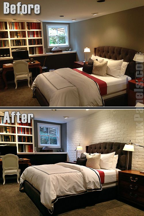 Before-and-after photo shows how the white faux brick siding brightens the bedroom while maintaining its classic look