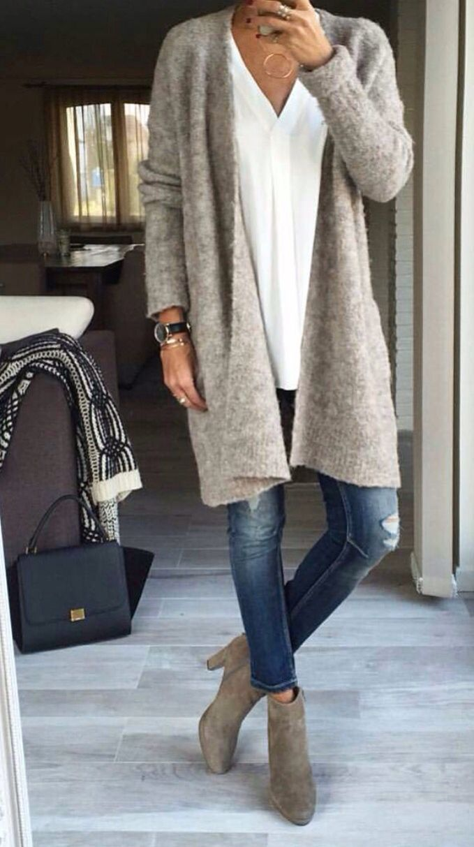 Casual jean look with long oversized cardigan in grey
