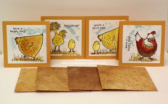 Hey Chick Friend Notes 2...Set of 4 3 x 3 note by Sylviascorner