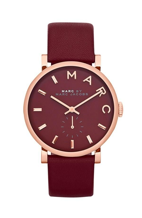 Rose Gold MARC BY MARC JACOBS Watch with Deep Maroon Face & Strap