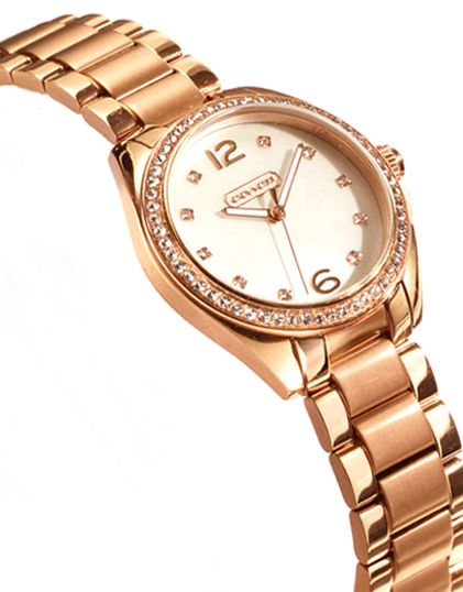 coach watch outlet wmwn  The Coach Tristen Rosegold Plated Crystal Bracelet Watch #CoachNewYorkMinute